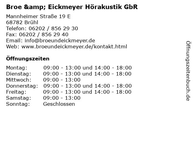 Broe & Eickmeyer Hörakustik GbR in Brühl: Adresse und Öffnungszeiten