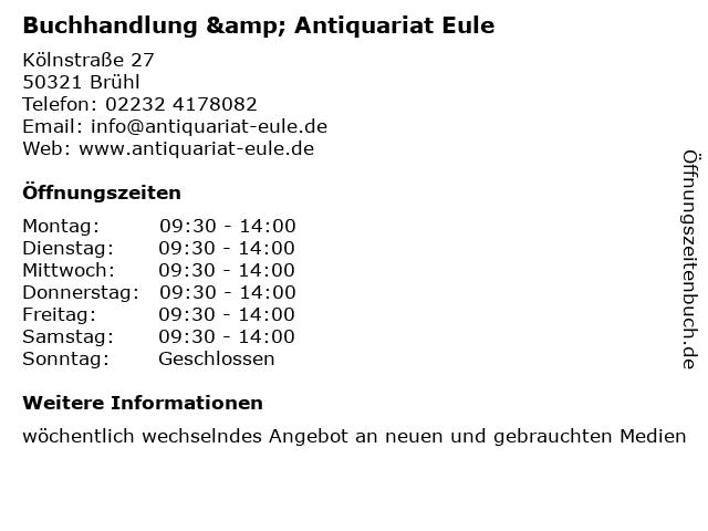 Buchhandlung & Antiquariat Eule in Brühl: Adresse und Öffnungszeiten