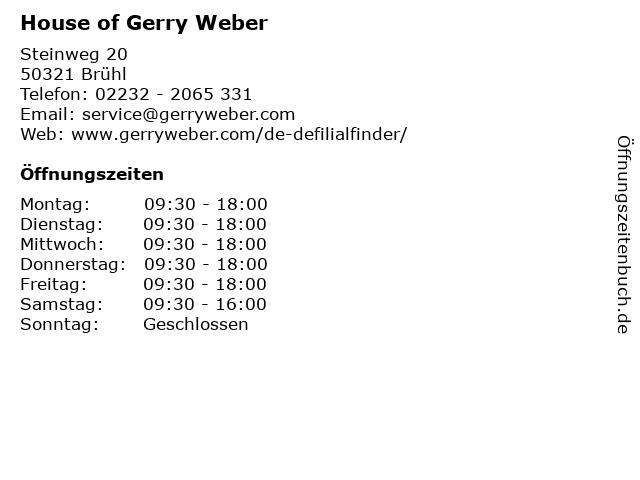 GERRY WEBER Shop in Brühl: Adresse und Öffnungszeiten