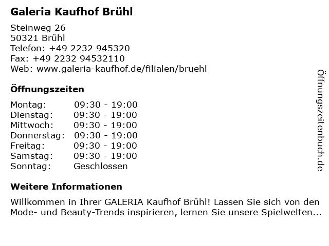 Galeria Kaufhof Brühl in Brühl: Adresse und Öffnungszeiten