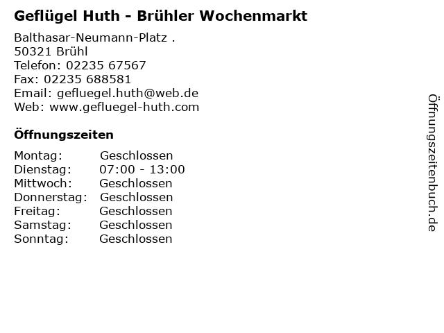 Geflügel Huth - Brühler Wochenmarkt in Brühl: Adresse und Öffnungszeiten