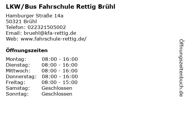 LKW/Bus Fahrschule Rettig Brühl in Brühl: Adresse und Öffnungszeiten