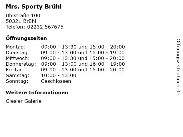 Mrs. Sporty Brühl in Brühl: Adresse und Öffnungszeiten