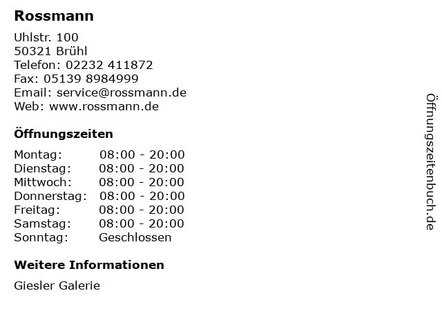 Dirk Rossmann GmbH in Brühl: Adresse und Öffnungszeiten
