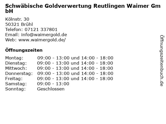 Schwäbische Goldverwertung Reutlingen in Brühl: Adresse und Öffnungszeiten