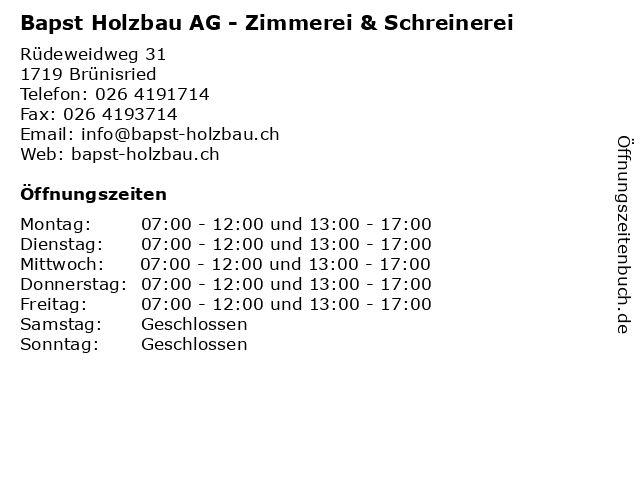 Bapst Holzbau AG - Zimmerei & Schreinerei in Brünisried: Adresse und Öffnungszeiten