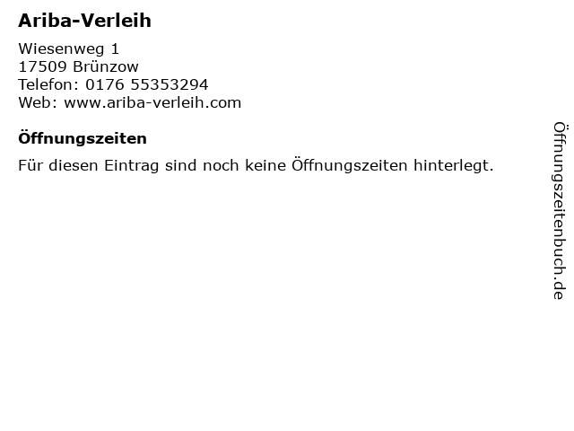 Ariba-Verleih in Brünzow: Adresse und Öffnungszeiten