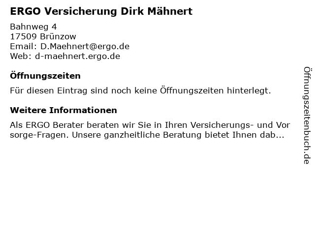 ERGO Versicherung Dirk Mähnert in Brünzow: Adresse und Öffnungszeiten