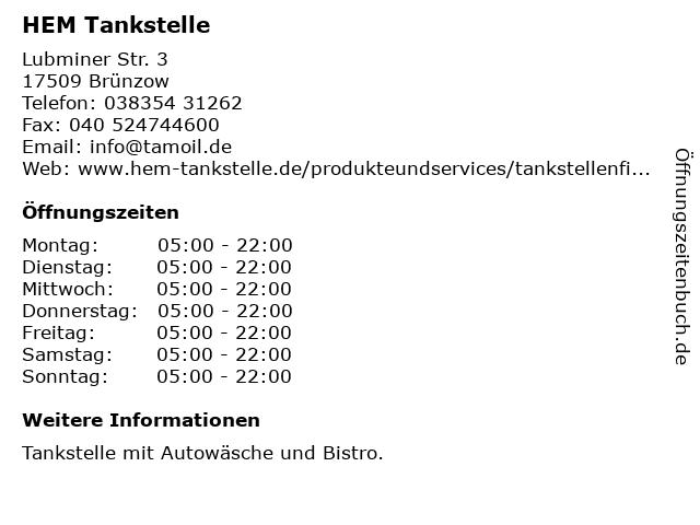 HEM Tankstelle in Brünzow: Adresse und Öffnungszeiten