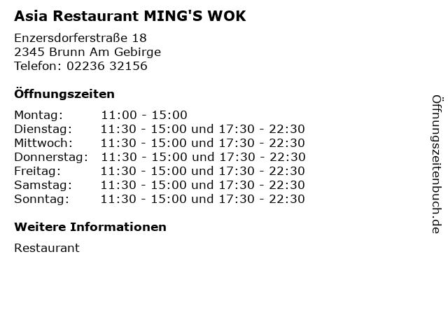 Asia Restaurant MING'S WOK in Brunn Am Gebirge: Adresse und Öffnungszeiten