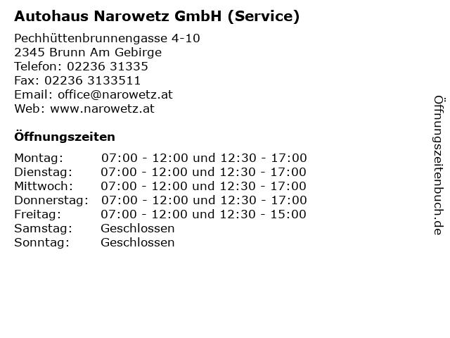 Autohaus Narowetz GmbH (Service) in Brunn Am Gebirge: Adresse und Öffnungszeiten