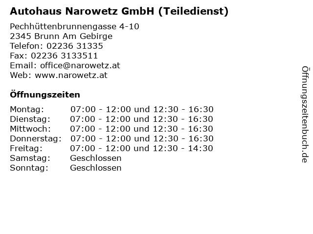 Autohaus Narowetz GmbH (Teiledienst) in Brunn Am Gebirge: Adresse und Öffnungszeiten