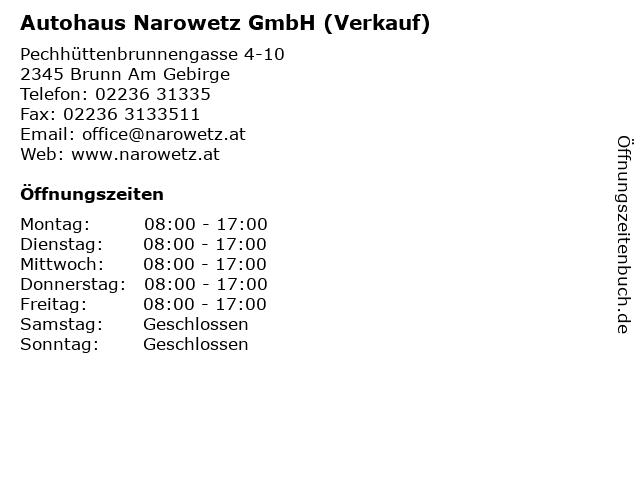 Autohaus Narowetz GmbH (Verkauf) in Brunn Am Gebirge: Adresse und Öffnungszeiten