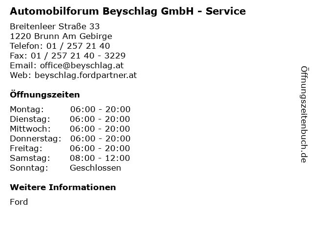 Automobilforum Beyschlag GmbH - Service in Brunn Am Gebirge: Adresse und Öffnungszeiten