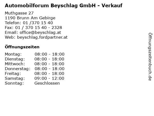 Automobilforum Beyschlag GmbH - Verkauf in Brunn Am Gebirge: Adresse und Öffnungszeiten