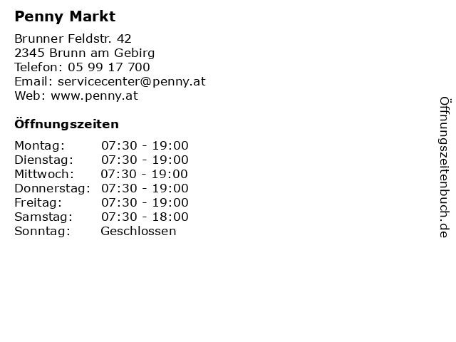 Penny Markt in Brunn am Gebirg: Adresse und Öffnungszeiten