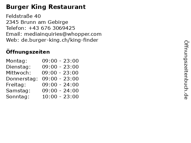 Burger King Restaurant in Brunn am Gebirge: Adresse und Öffnungszeiten