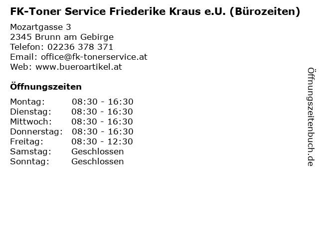 FK-Toner Service Friederike Kraus e.U. (Bürozeiten) in Brunn am Gebirge: Adresse und Öffnungszeiten