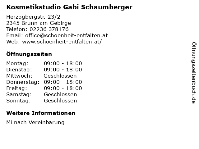 Kosmetikstudio Gabi Schaumberger in Brunn am Gebirge: Adresse und Öffnungszeiten