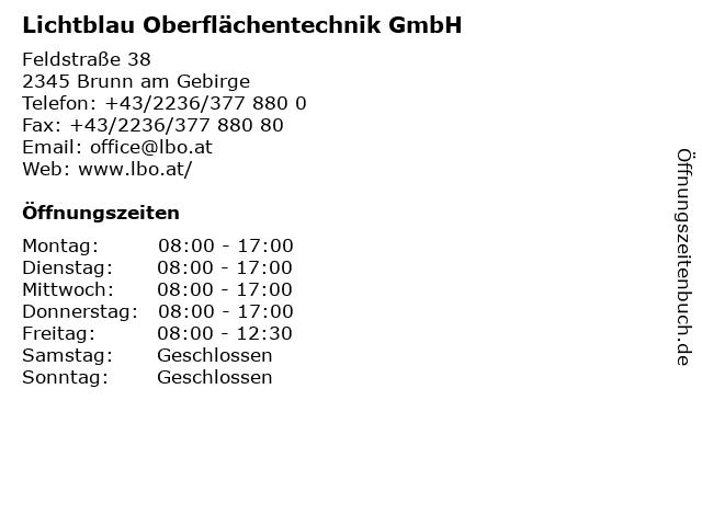 Lichtblau Oberflächentechnik GmbH in Brunn am Gebirge: Adresse und Öffnungszeiten