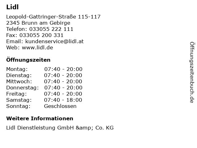 Lidl in Brunn am Gebirge: Adresse und Öffnungszeiten