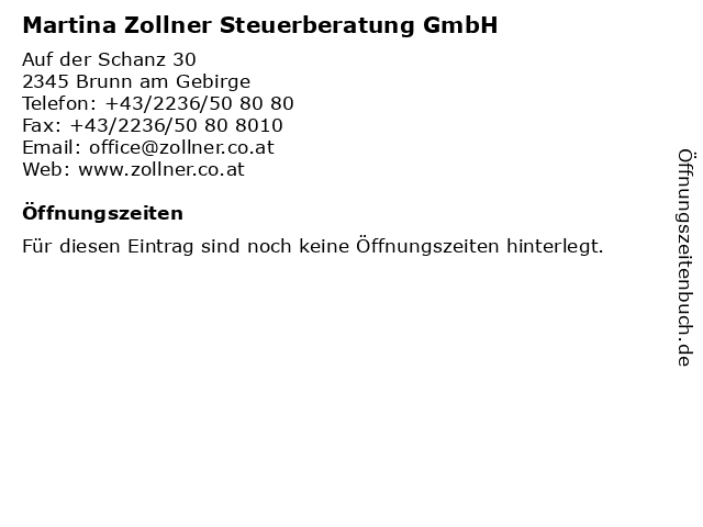 Martina Zollner Steuerberatung GmbH in Brunn am Gebirge: Adresse und Öffnungszeiten