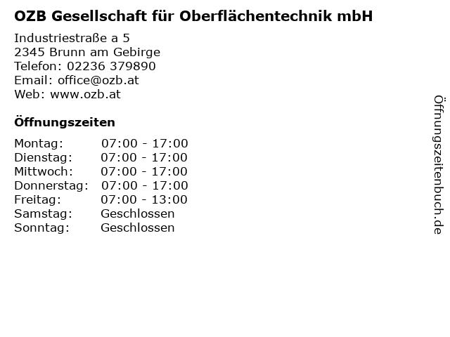OZB Gesellschaft für Oberflächentechnik mbH in Brunn am Gebirge: Adresse und Öffnungszeiten