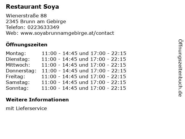 Restaurant Soya in Brunn am Gebirge: Adresse und Öffnungszeiten