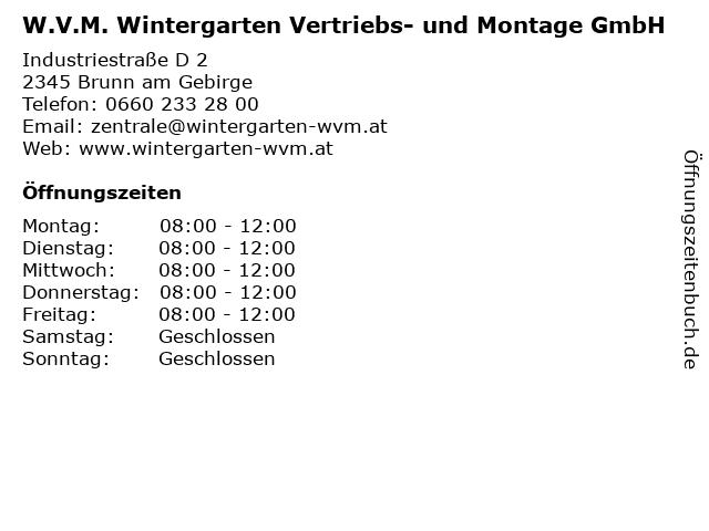 W.V.M. Wintergarten Vertriebs- und Montage GmbH in Brunn am Gebirge: Adresse und Öffnungszeiten