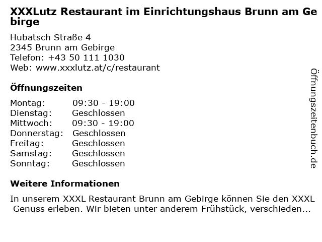 XXXLutz Restaurant im Einrichtungshaus Brunn am Gebirge in Brunn am Gebirge: Adresse und Öffnungszeiten