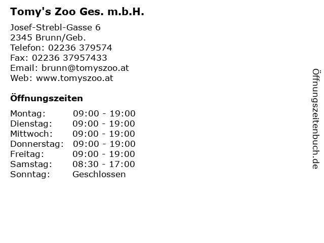 Tomy's Zoo Ges. m.b.H. in Brunn/Geb.: Adresse und Öffnungszeiten