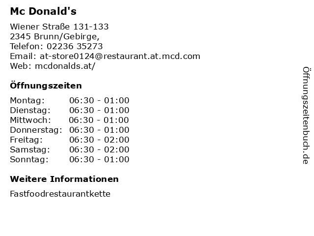 Mc Donald's in Brunn/Gebirge,: Adresse und Öffnungszeiten