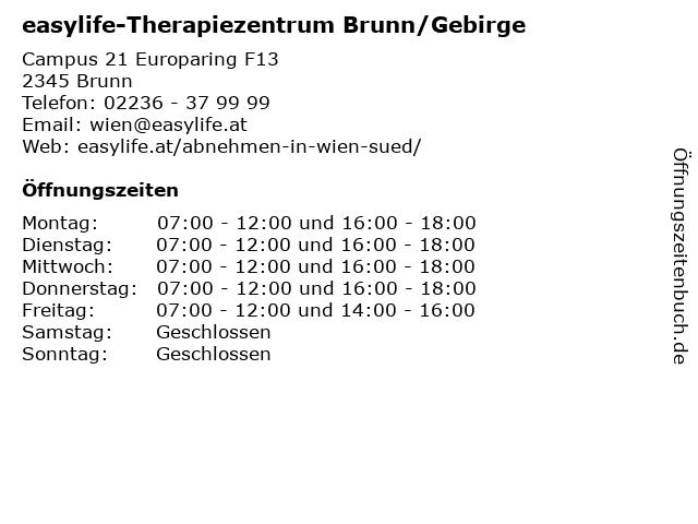 easylife-Therapiezentrum Brunn/Gebirge in Brunn: Adresse und Öffnungszeiten
