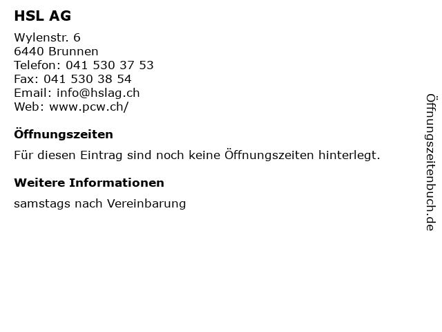 HSL AG in Brunnen: Adresse und Öffnungszeiten
