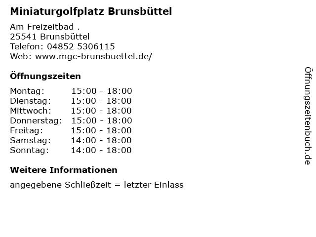 Miniaturgolfplatz Brunsbüttel in Brunsbüttel: Adresse und Öffnungszeiten