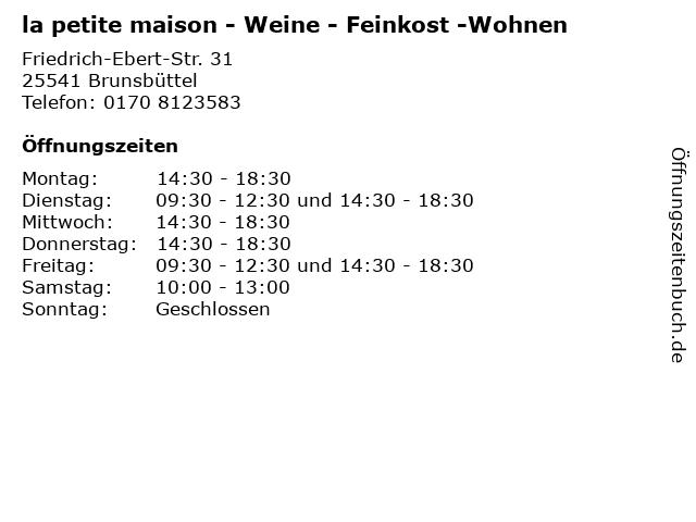 la petite maison - Weine - Feinkost -Wohnen in Brunsbüttel: Adresse und Öffnungszeiten