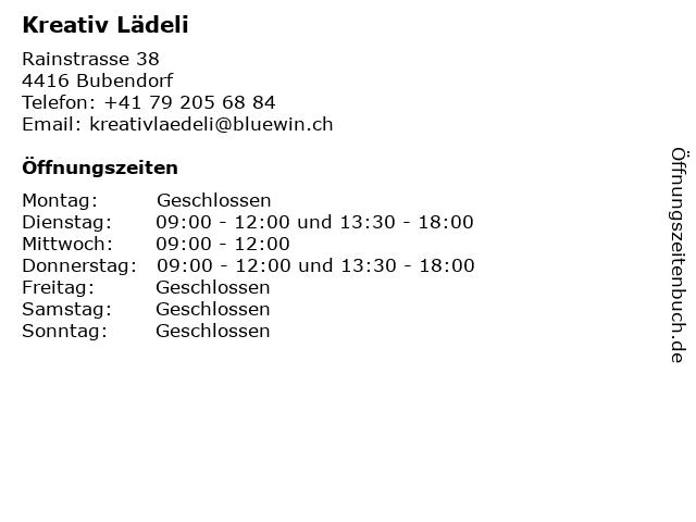Kreativ Lädeli in Bubendorf: Adresse und Öffnungszeiten