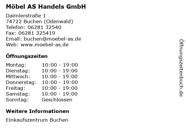 ᐅ öffnungszeiten Möbel As Handels Gmbh Daimlerstraße 1 In