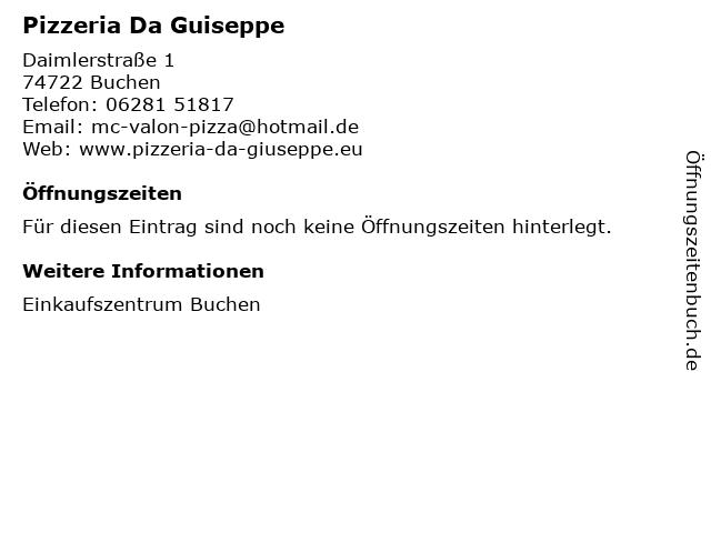 Pizzeria Da Guiseppe in Buchen: Adresse und Öffnungszeiten