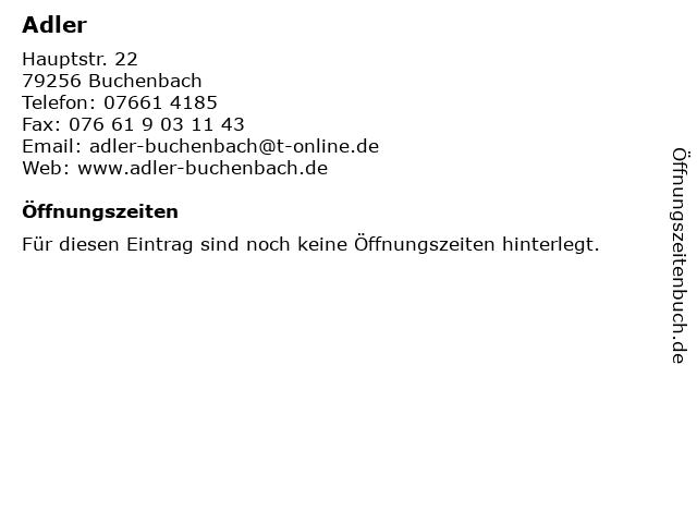 Adler in Buchenbach: Adresse und Öffnungszeiten