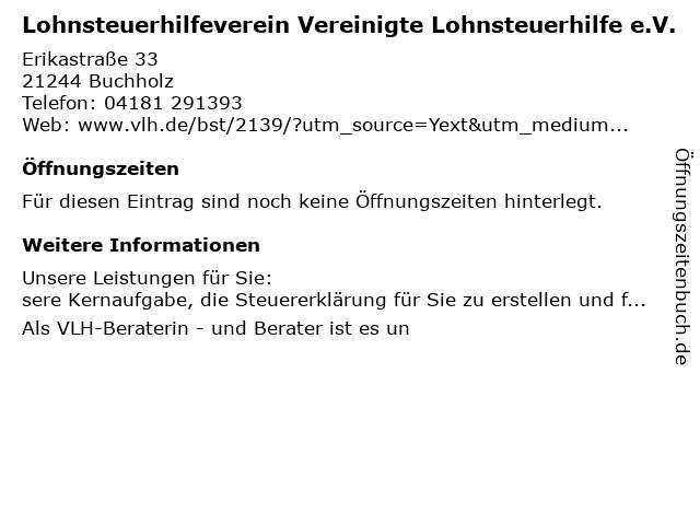 Vereinigte Lohnsteuerhilfe e.V. - Christina Reichentrog in Buchholz (Nordh.): Adresse und Öffnungszeiten