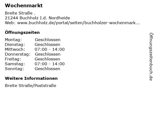 Wochenmarkt in Buchholz I.d. Nordheide: Adresse und Öffnungszeiten