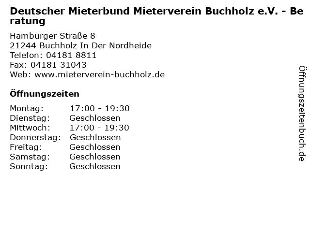 Deutscher Mieterbund Mieterverein Buchholz e.V. - Beratung in Buchholz In Der Nordheide: Adresse und Öffnungszeiten