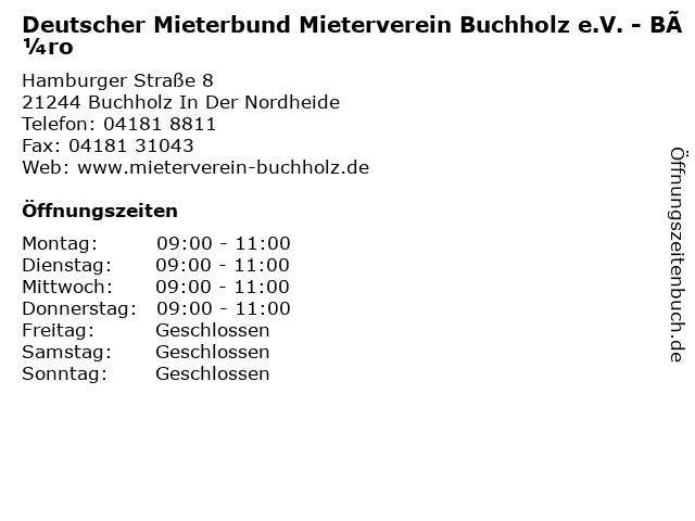 Deutscher Mieterbund Mieterverein Buchholz e.V. - Büro in Buchholz In Der Nordheide: Adresse und Öffnungszeiten