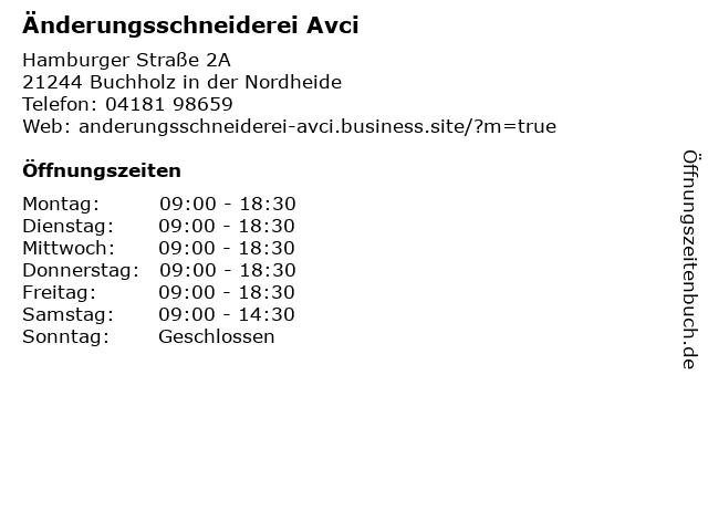 Änderungsschneiderei Avci in Buchholz in der Nordheide: Adresse und Öffnungszeiten