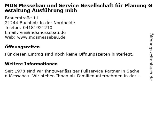MDS Messebau und Service Gesellschaft für Planung Gestaltung Ausführung mbh in Buchholz in der Nordheide: Adresse und Öffnungszeiten