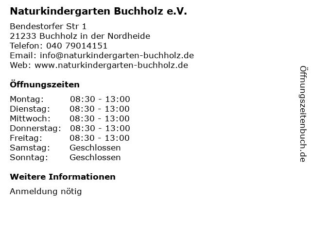 Naturkindergarten Buchholz e.V. in Buchholz in der Nordheide: Adresse und Öffnungszeiten