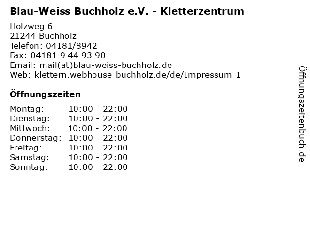 Blau-Weiss Buchholz e.V. - Kletterzentrum in Buchholz: Adresse und Öffnungszeiten