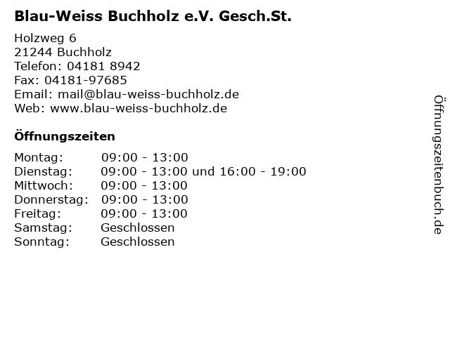 Blau-Weiss Buchholz e.V. Gesch.St. in Buchholz: Adresse und Öffnungszeiten