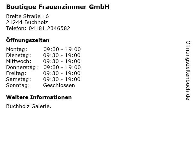 Boutique Frauenzimmer GmbH in Buchholz: Adresse und Öffnungszeiten